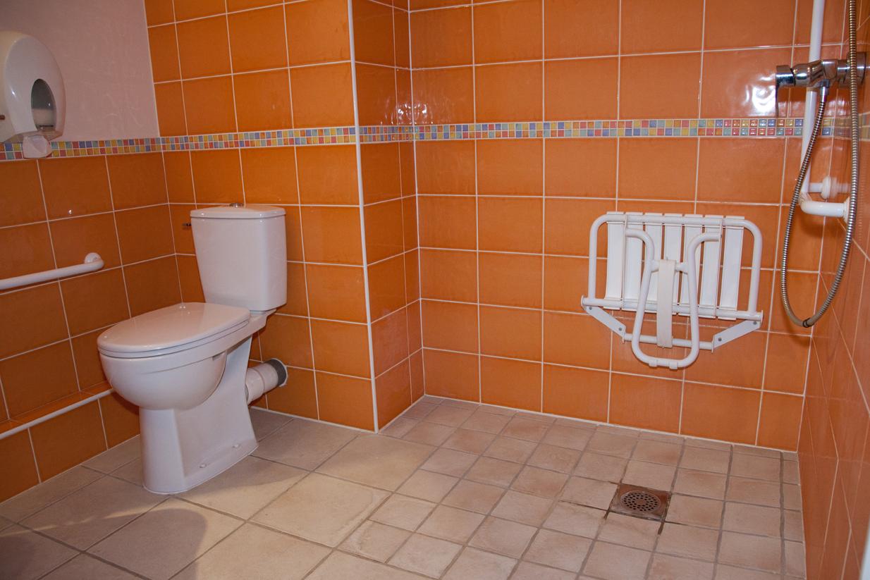 Chambre d'hôtel accessible aux personnes handicapées, salle de bain pour personne à mobilité réduite