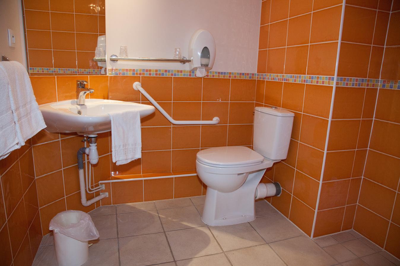 Chambre d'hôtel accessible aux personnes à mobilité réduite, salle de bain handicap